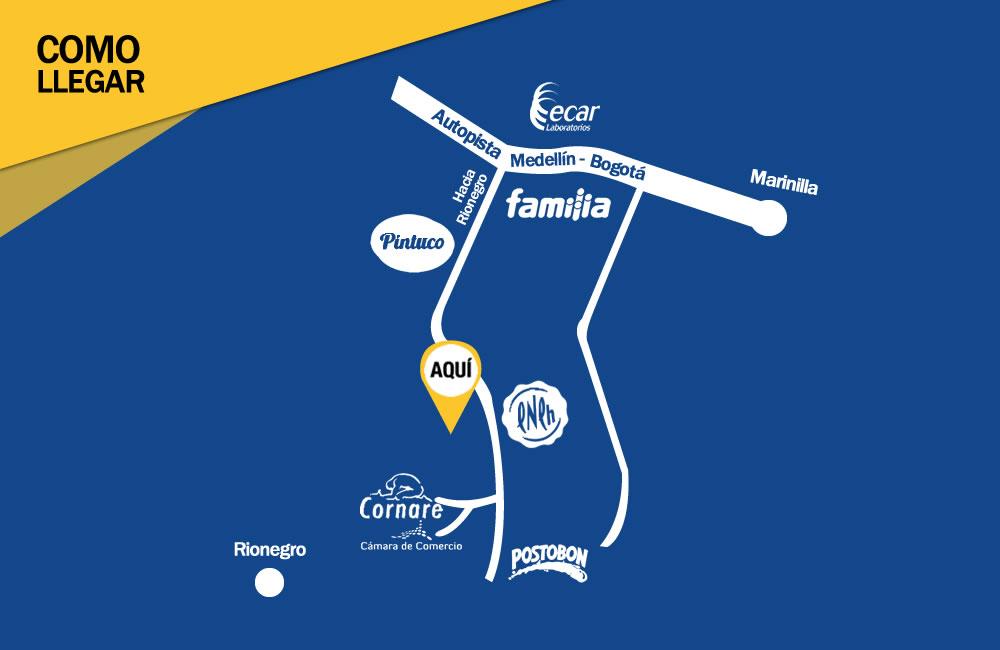 Mapa - Como Llegar - Central de Empresas y Negocios - LLanogrande Hills - Constructora Serving - Servicios de Ingeniería