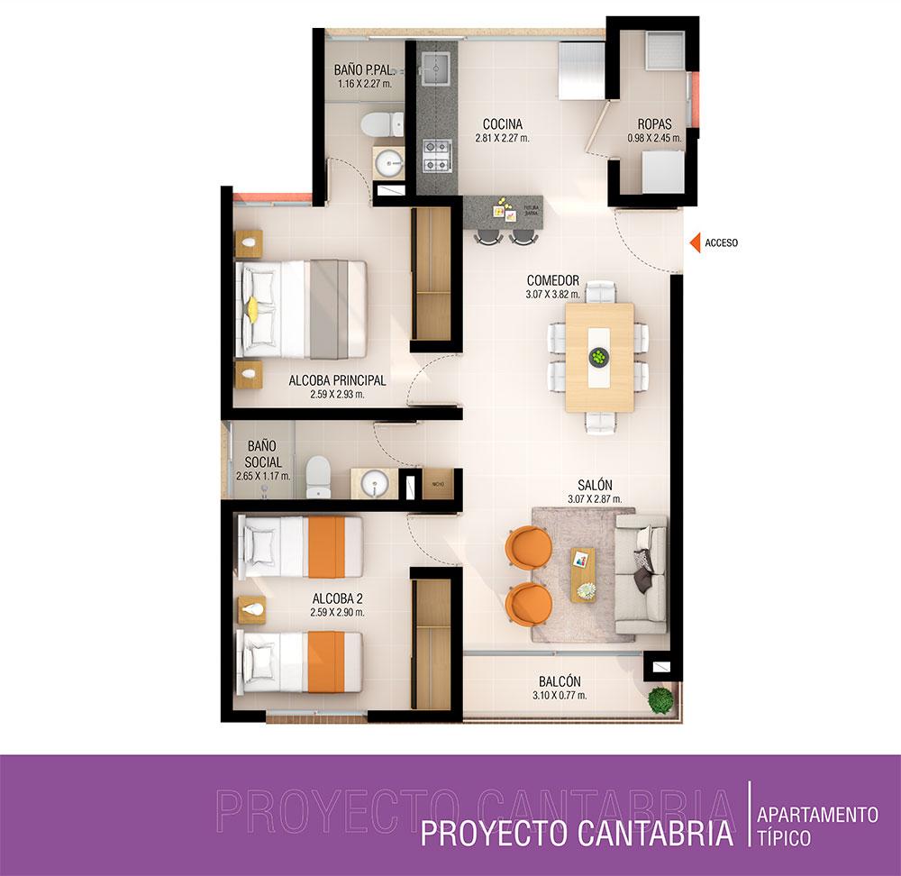 Plano Proyecto Cantabria Apartamentos, Constructora Serving